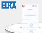 Сертификат официального представителя компании ELKA в РФ и СНГ